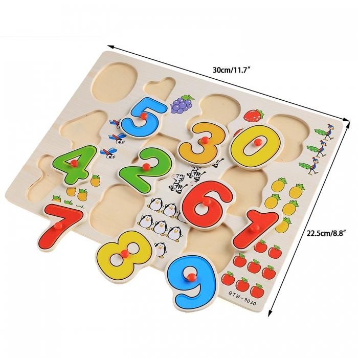 Jucarie puzzle incastru lemn cifre